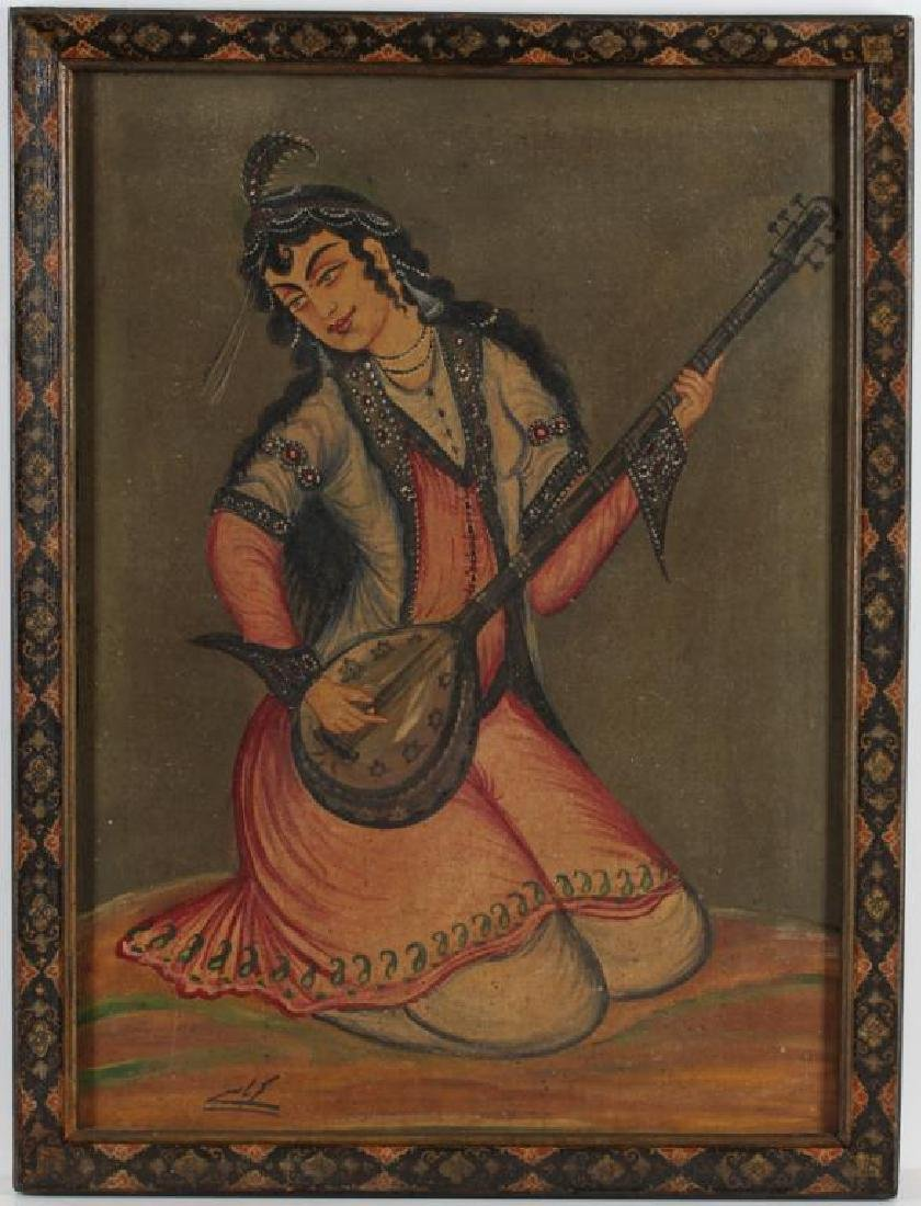 Orientalist Oil on Canvas, Woman Playing Oud