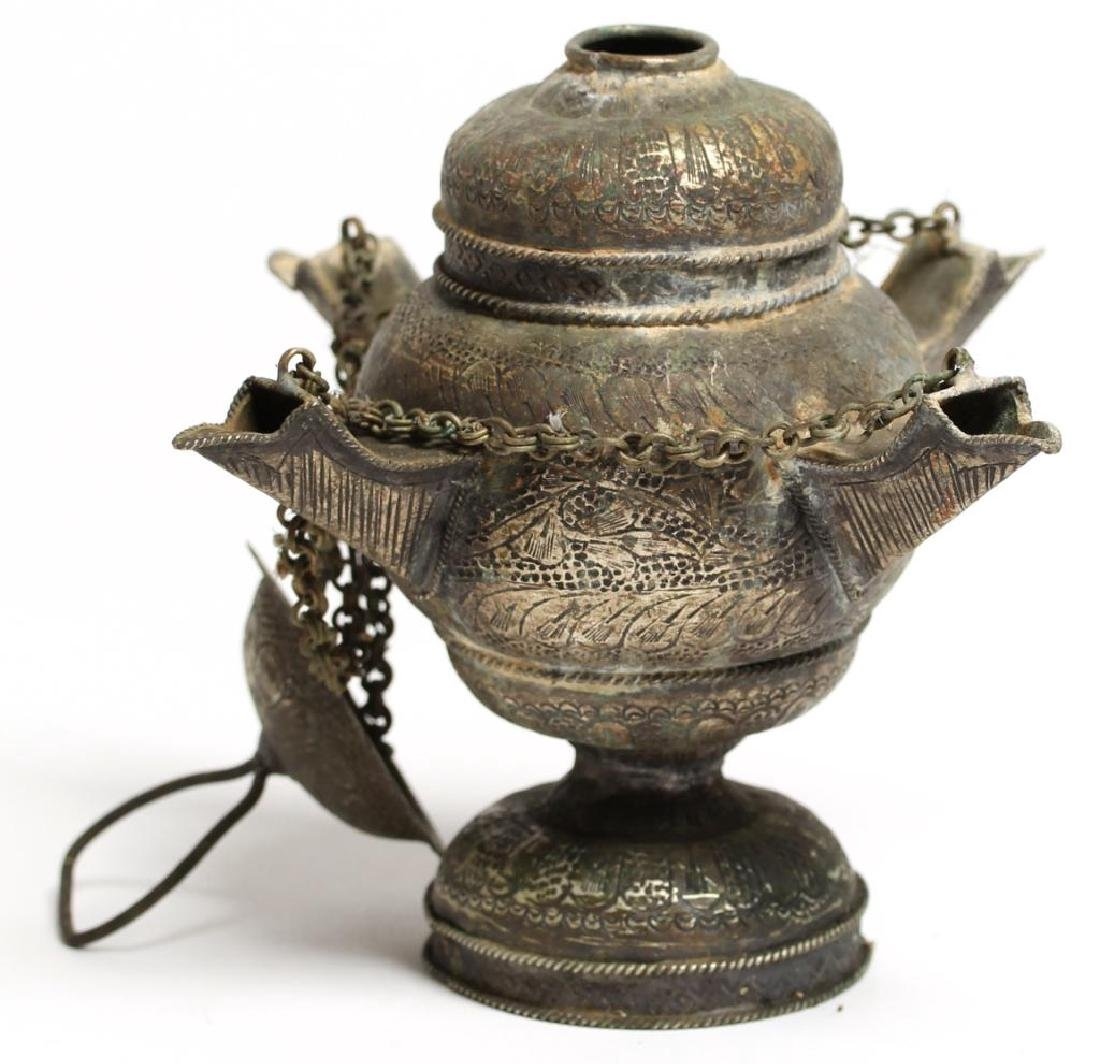 Middle Eastern Hanging Silver-Tone Metal Oil Lamp - 2
