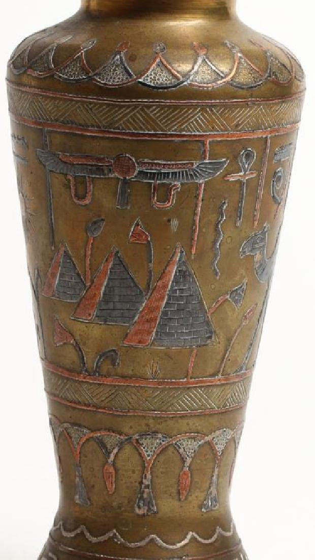 Vintage Egyptian Silver Inlaid Cairo-Ware Vase - 2