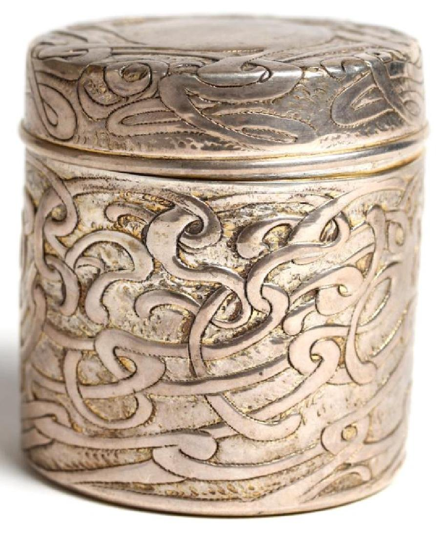 Art Nouveau Round Sterling Silver Vanity Jar