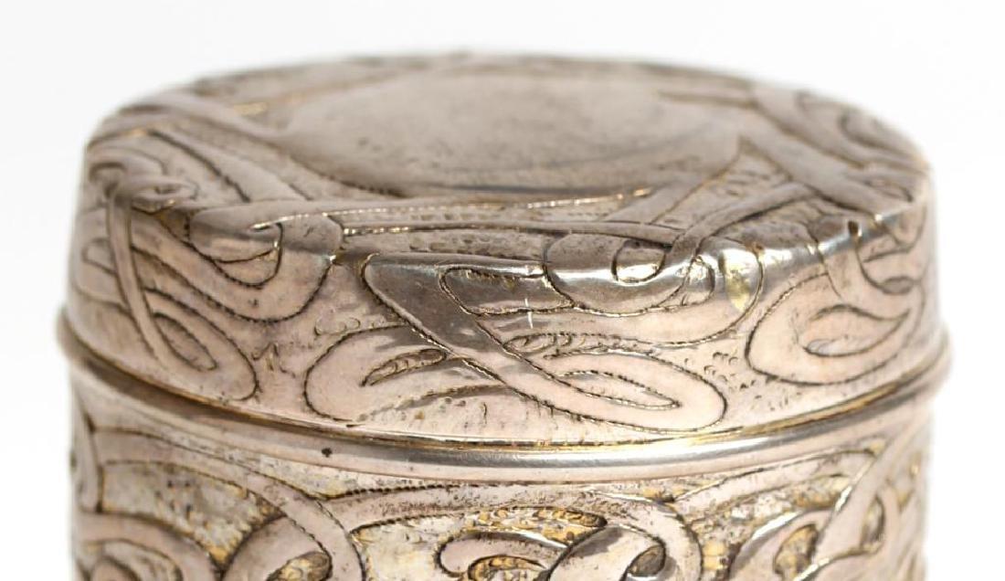 Art Nouveau Round Sterling Silver Vanity Jar - 2