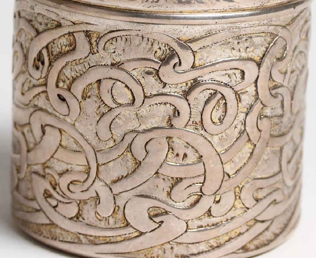 Art Nouveau Round Sterling Silver Vanity Jar - 3