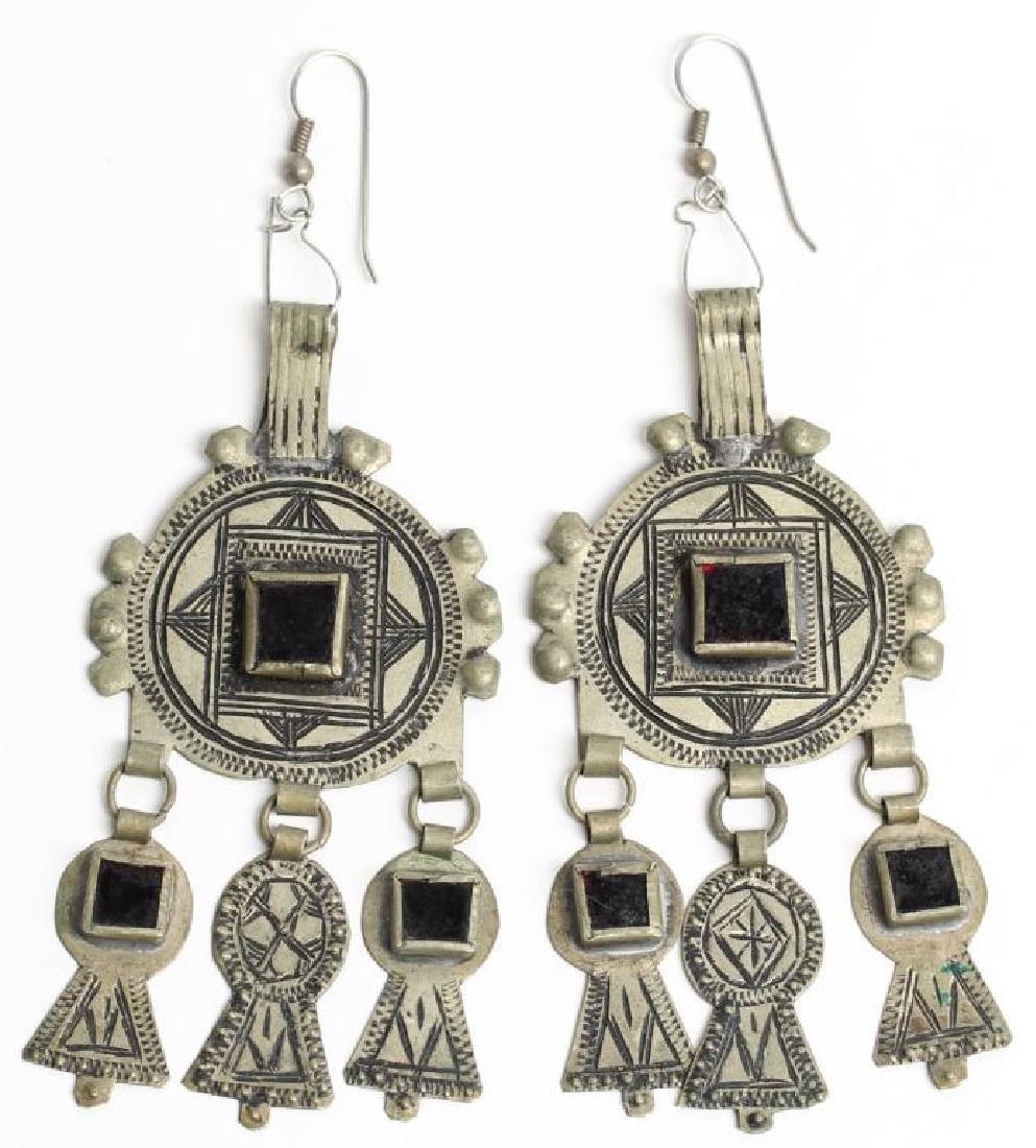 Pair of Red Glass & Metal Dangle Earrings