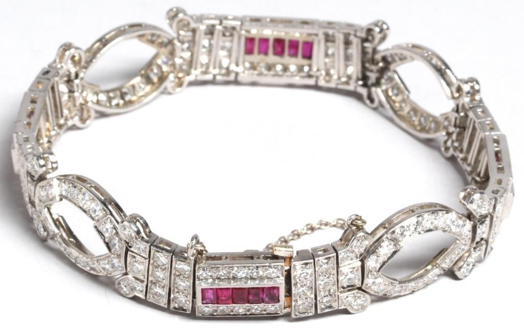 Art Deco Platinum, Diamond, & Ruby Bracelet