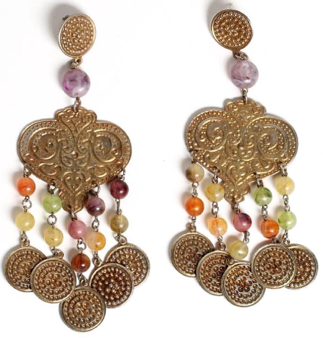 Pair of Coin Metal & Glass Bead Earrings