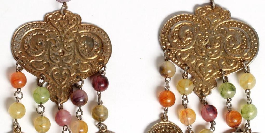 Pair of Coin Metal & Glass Bead Earrings - 2