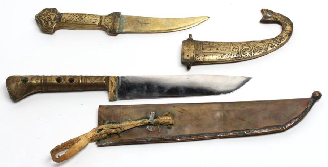 2 Middle Eastern Brass-Plated Knives - 3