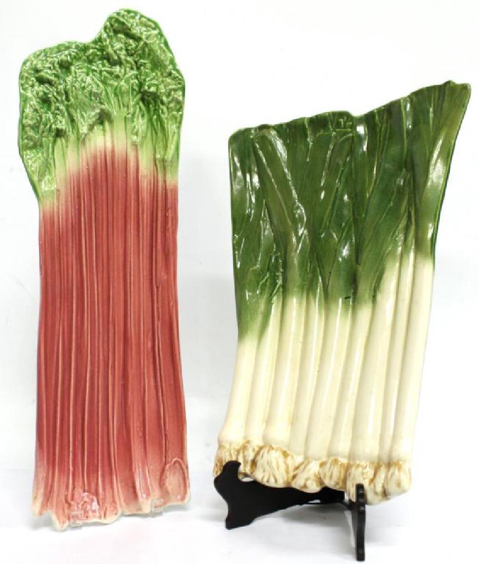 2 B. Eigler Hand-Painted Vegetable Platters, 1983