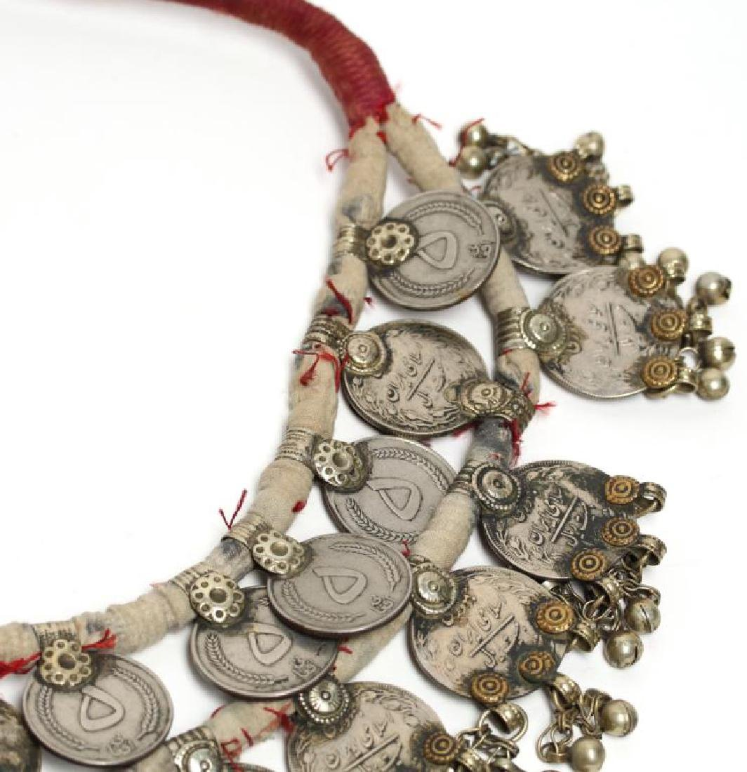 North African Tribal Coin Metal Belt With Red - 4