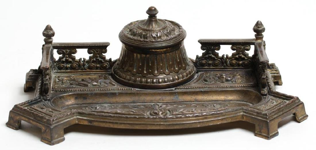 Ornate Silver-Gilt-Toned Metal Inkwell & Pen Tray