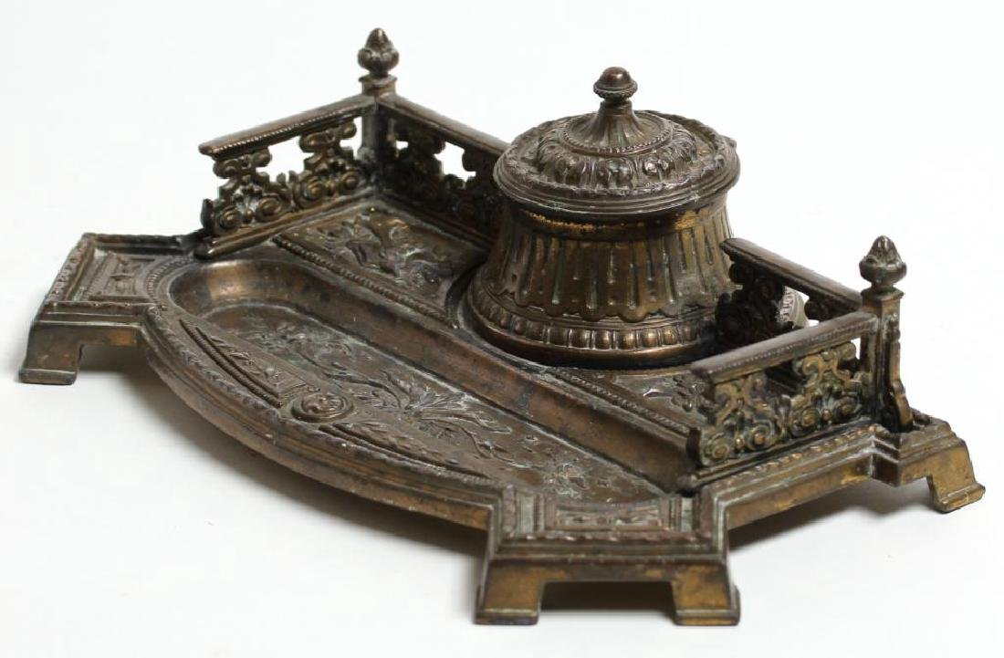 Ornate Silver-Gilt-Toned Metal Inkwell & Pen Tray - 2