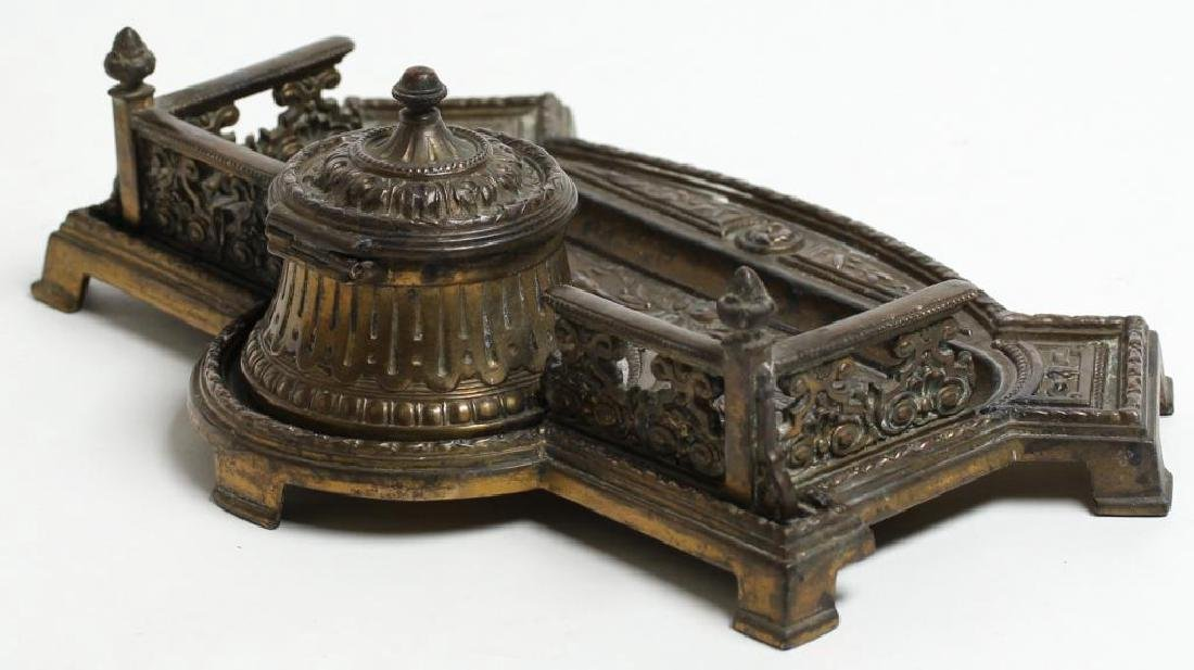 Ornate Silver-Gilt-Toned Metal Inkwell & Pen Tray - 4