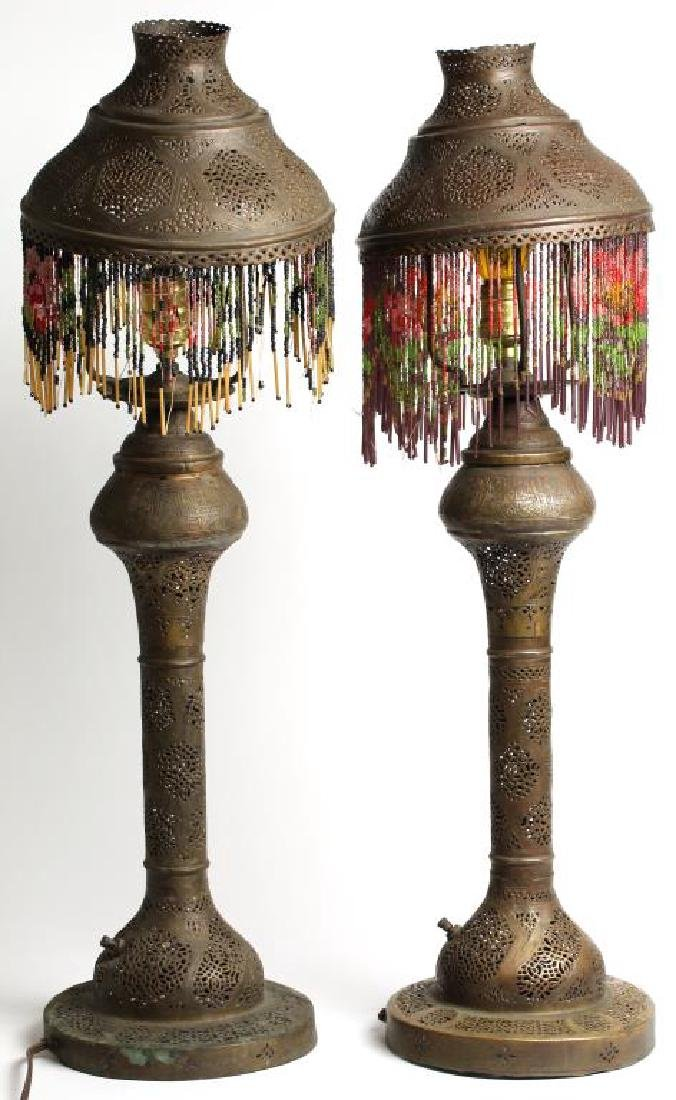 Pair Vintage Moorish Pierced Brass Tabletop Lamps