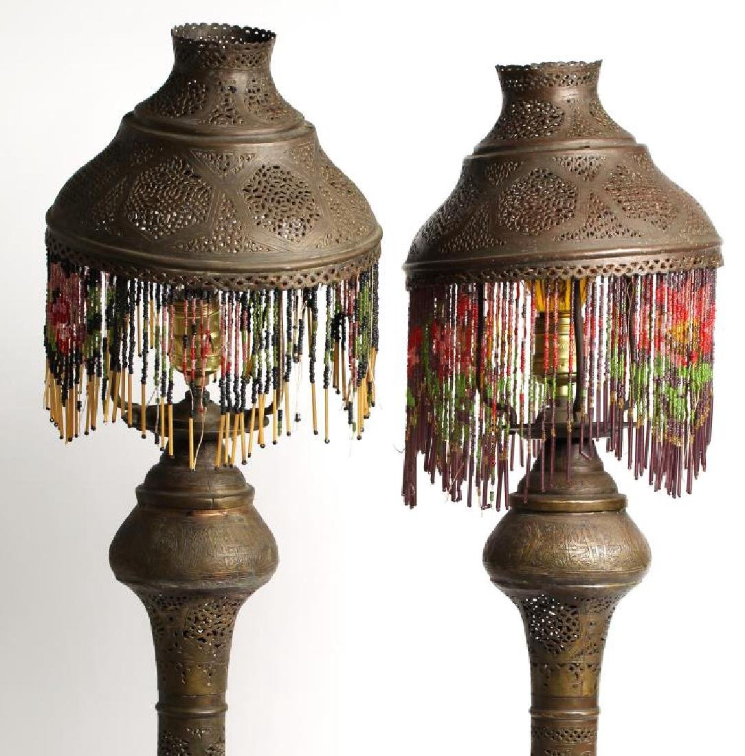 Pair Vintage Moorish Pierced Brass Tabletop Lamps - 2