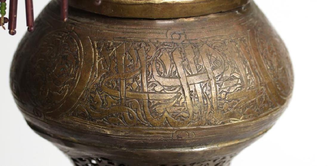 Pair Vintage Moorish Pierced Brass Tabletop Lamps - 5