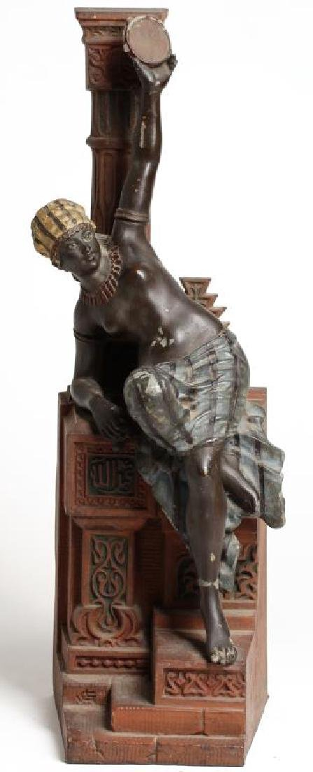 Painted Cast Iron Sculpture Of A Tambourine Player