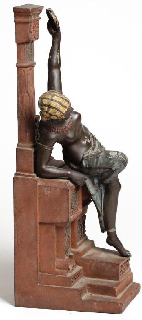 Painted Cast Iron Sculpture Of A Tambourine Player - 2