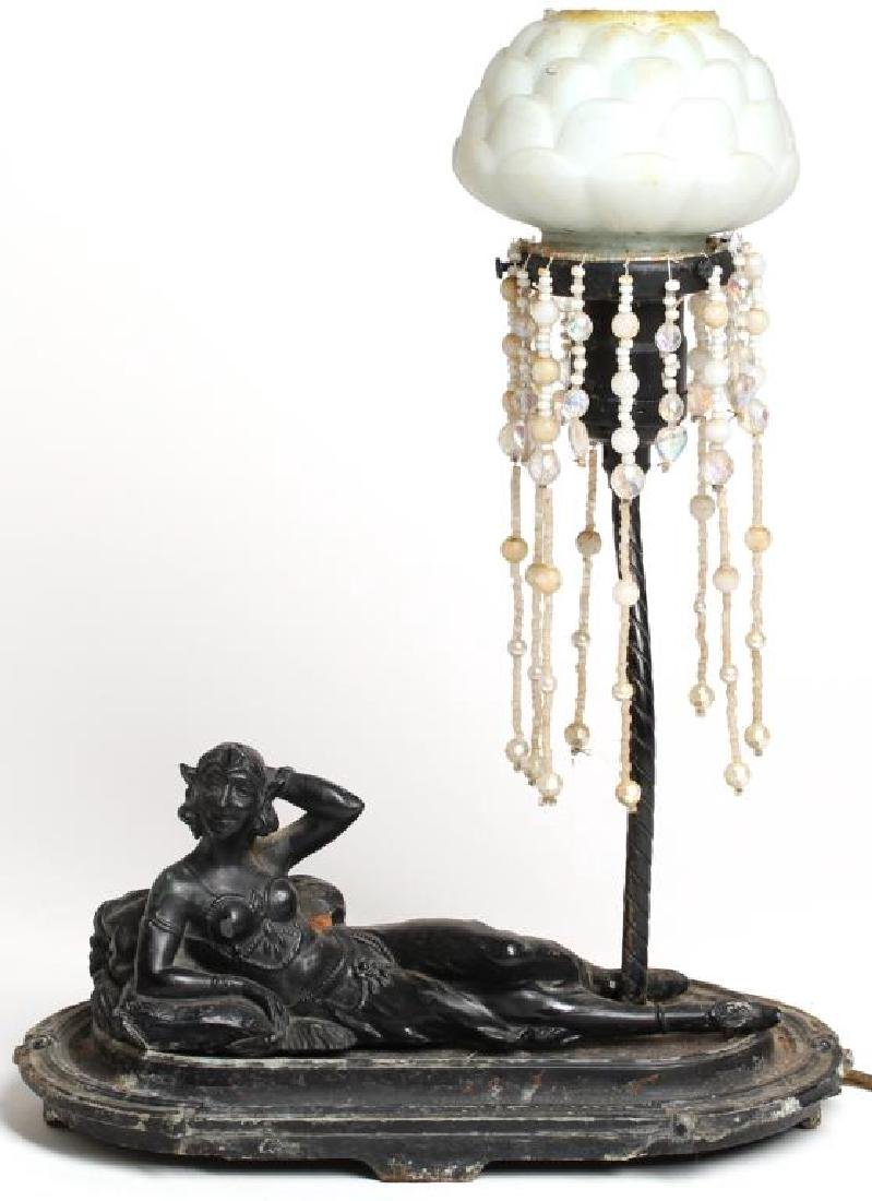 Bronze Table Lamp with Reclining Belly Dancer