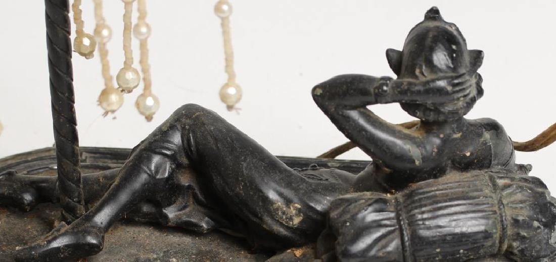 Bronze Table Lamp with Reclining Belly Dancer - 4