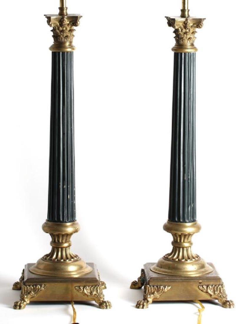 Pair Of Molded Bronze Empire Column Lamps