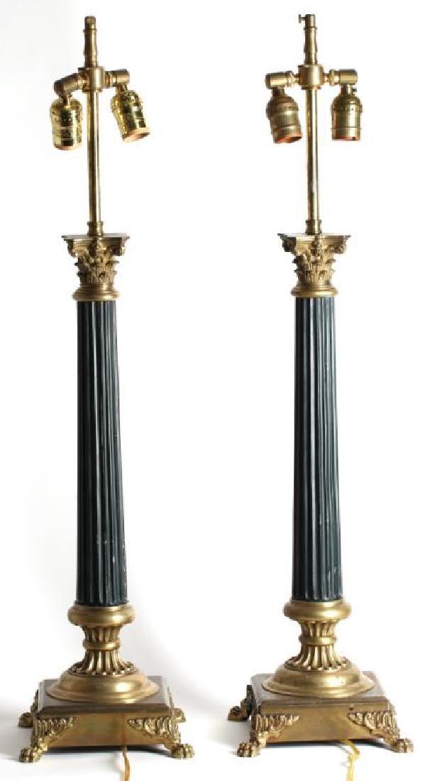 Pair Of Molded Bronze Empire Column Lamps - 2