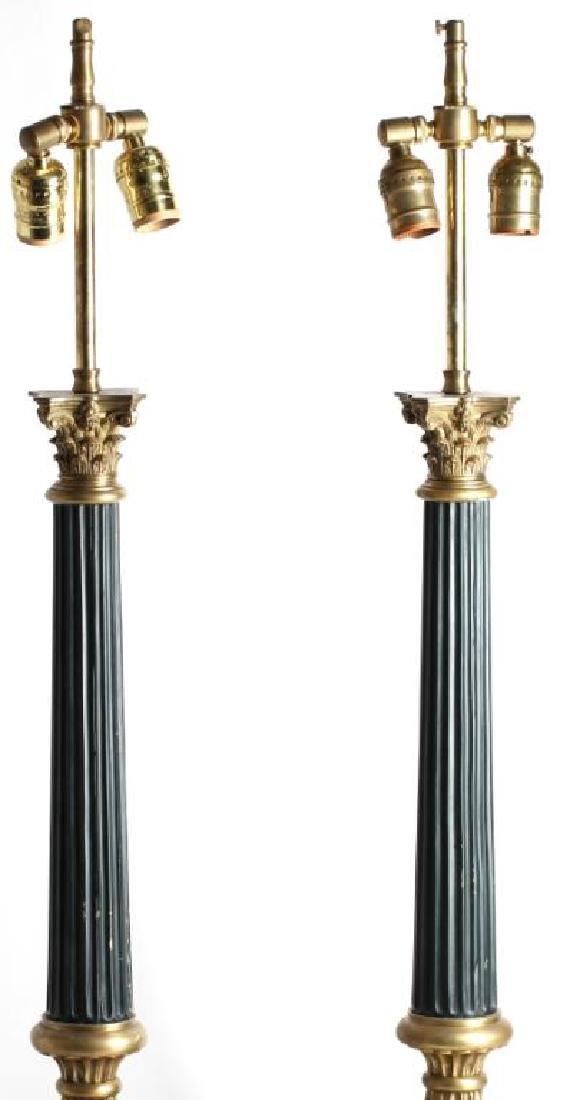 Pair Of Molded Bronze Empire Column Lamps - 3