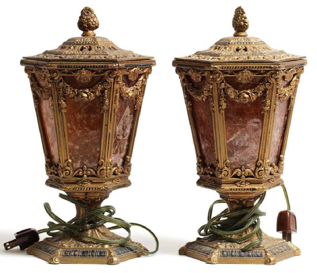 Pair of Vintage Gilt Metal & Mica Table Lanterns