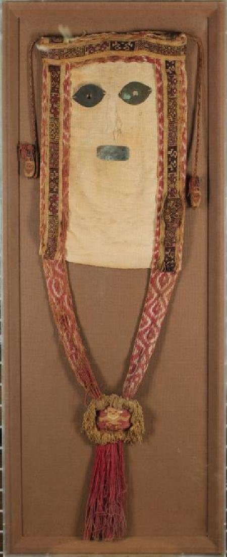 South American Folk Textile Head in Lucite Frame