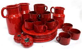 Group of Italian Red-Glazed Pottery Dishes