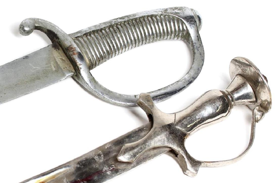 2 Silvered Metal Belly Dance Scimitars / Swords - 2