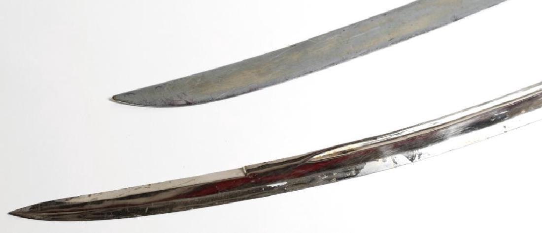 2 Silvered Metal Belly Dance Scimitars / Swords - 3