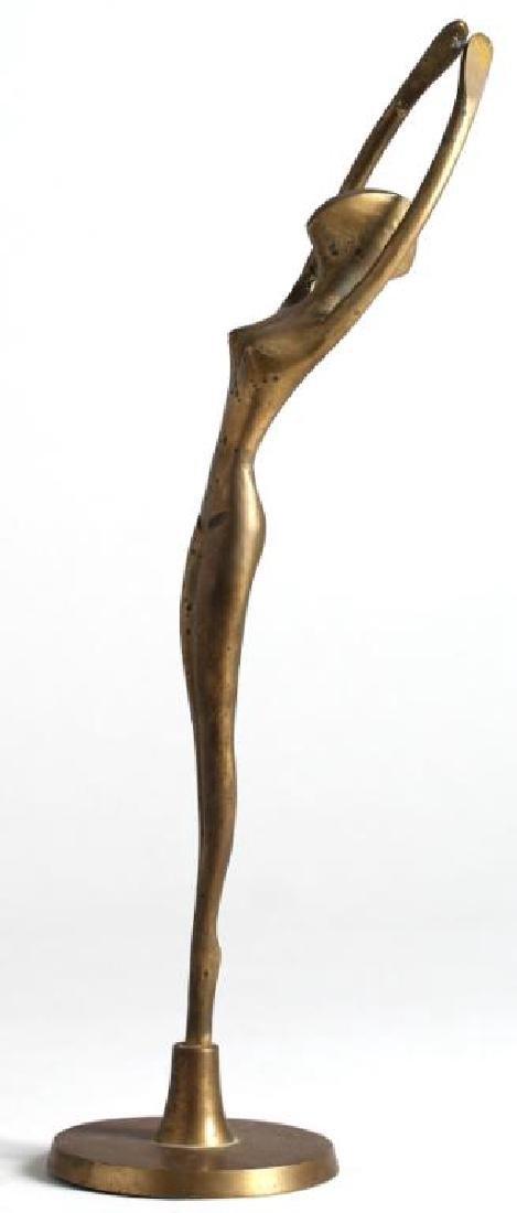 Modernist Cast Brass Streamlined Female Figure