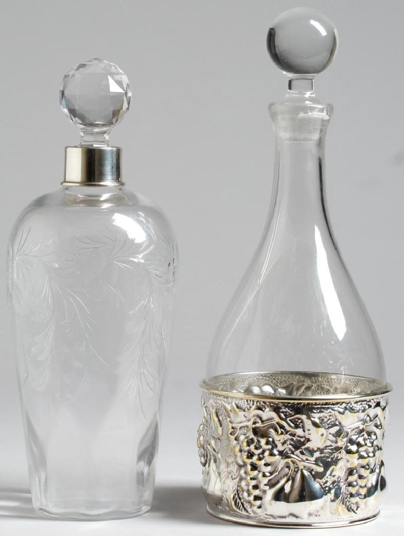 2 Glass Decanters, one with Sterling Silver Mount
