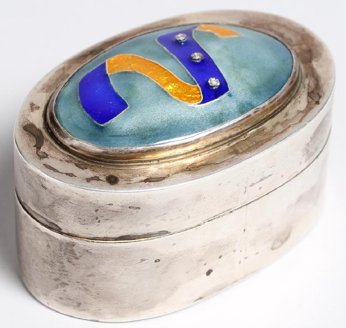 Silver, Enamel & White Sapphire-Inlaid Box