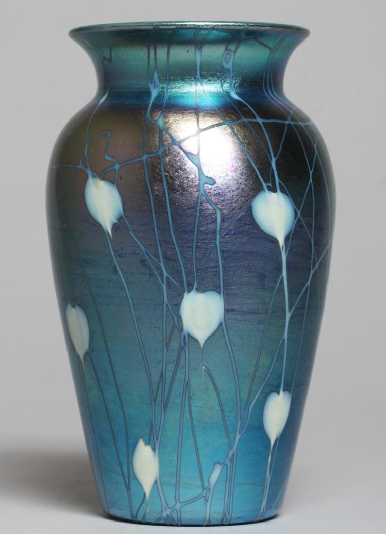Durand Blue & White Luster Art Glass Vase