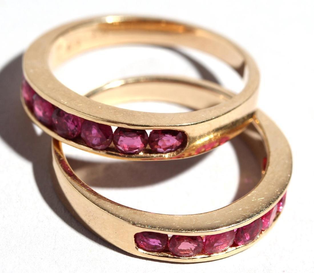 Set of 14K Gold & Ruby Stacking Rings