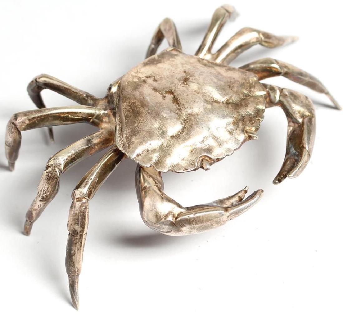 Vintage Silver-Tone Metal Crab-Form Box