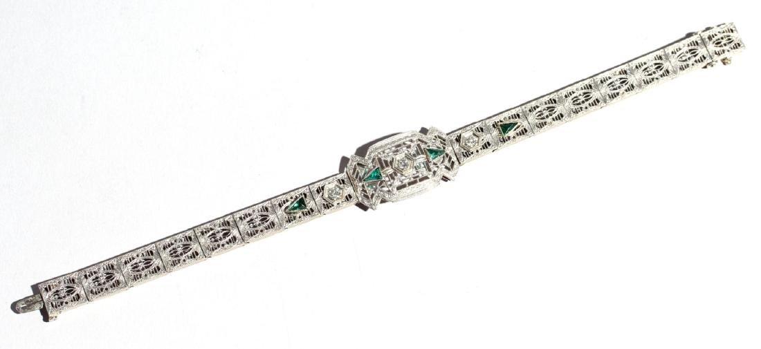 Art Deco 14K White Gold & Diamond Bracelet, 1920s