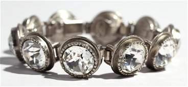 Chanel Silver-Tone & Rhinestone Costume Bracelet