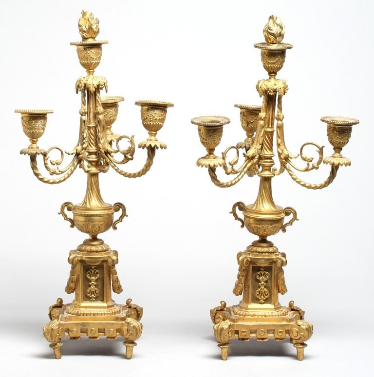 Pair French Neoclassical Gilt Bronze Candelabra