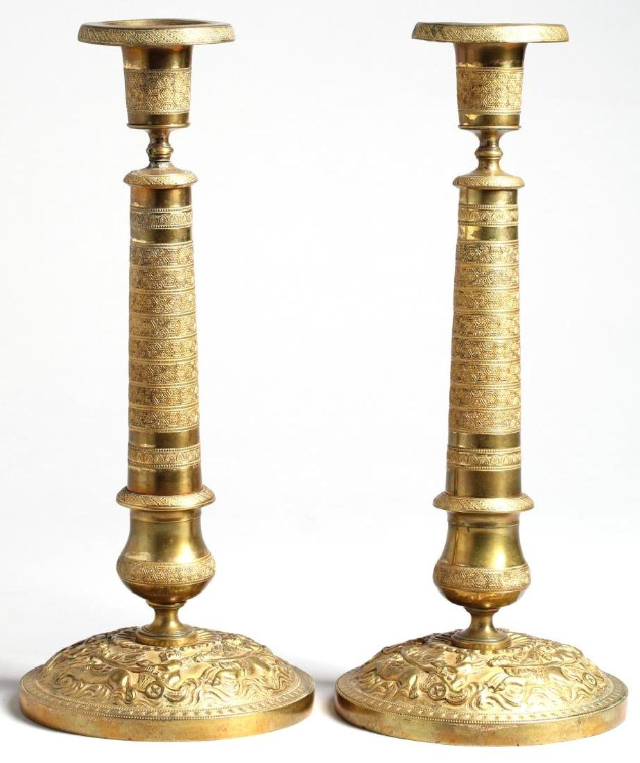 Pair of Neoclassical-Style Gilt Brass Candlesticks