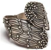 Hilario Lopez Taxco Silver Hinged Cuff Bracelet