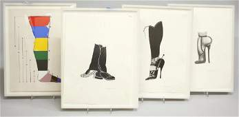 3 Lithographs  1 Serigraph of High Heels