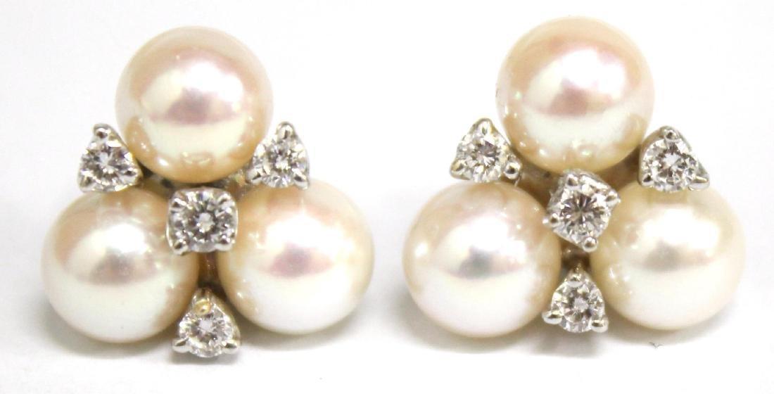 Trefoil 18K White Gold, Pearl, & Diamond Earrings