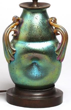 Antique Loetz-Style Iridescent Vase Lamp