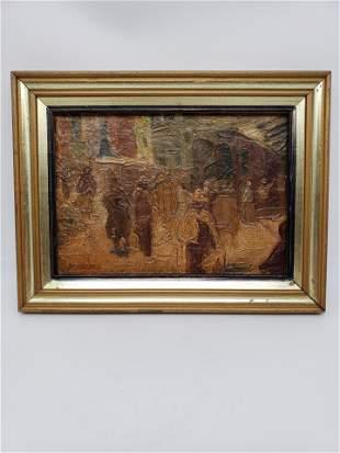Rafael Barradas 1890-1929 Oil On Board. Signed