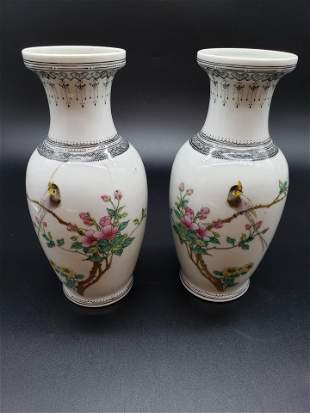PAIR OF ANTIQUE SIGNED CHINESE PORCELAIN VASES