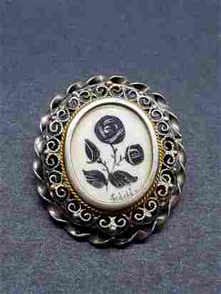 VICTORIAN HANDPAINTED STERLING SILVER TUSK PIN/PENDANT