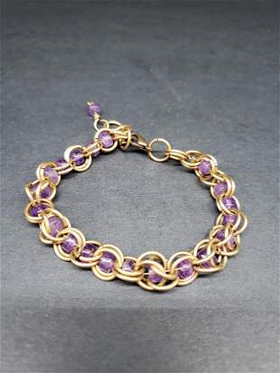 VICTORIAN PURPLE AND GOLD FILLED BRACELET