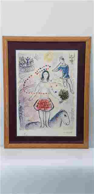 MARC CHAGALL COLORED LITHOGRAPH PENCIL SIGNED NUMBERED